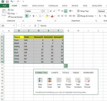 Microsoft Excel 2013 Tabellenblatt