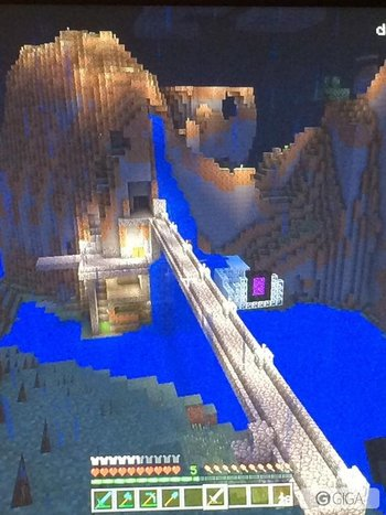 My old mountain castle. The mine system underneath of it is a bit extensive lol. #MinecraftPS4 http://t.co/sweBEIGToo
