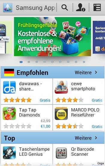 Samsung App Market Startseite