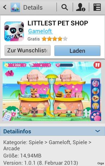 Samsung App Market App Seite