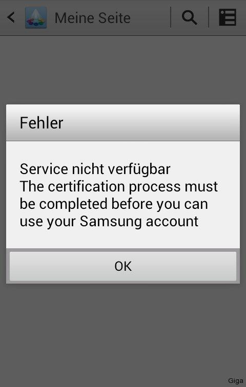 Samsung App Market - Bei dieser Fehlermeldung einfach erneut anmelden