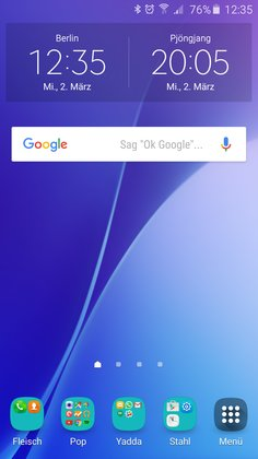 Samsung Galaxy A5: Homescreen
