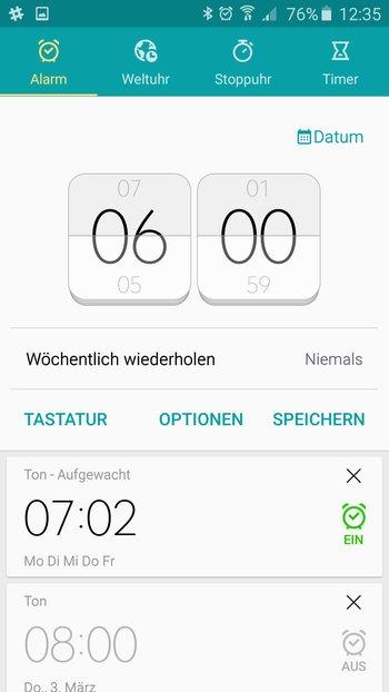 Samsung Galaxy A5: Uhr- und Wecker-App