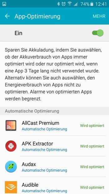 Samsung Galaxy A5: App-Optimierung