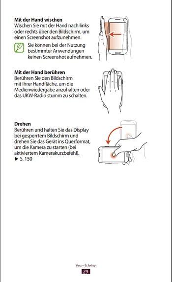 Samsung Galaxy S3 Handbuch Gesten