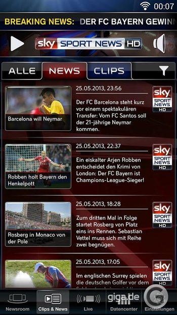 Sky Sport News HD für Android Screenshot