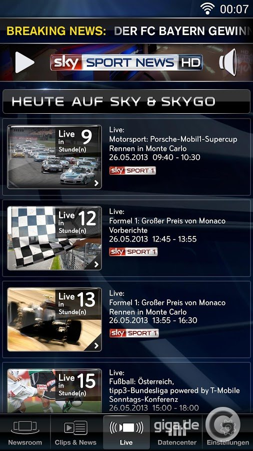 Sky go app sky sport news hd für android screenshot