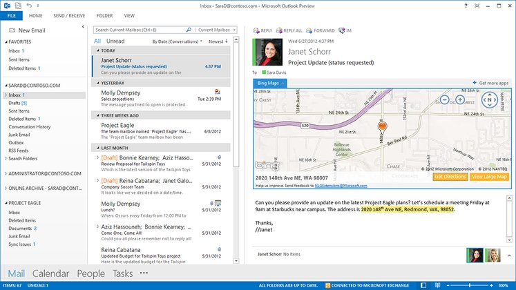 The new Office Outlook Bing App