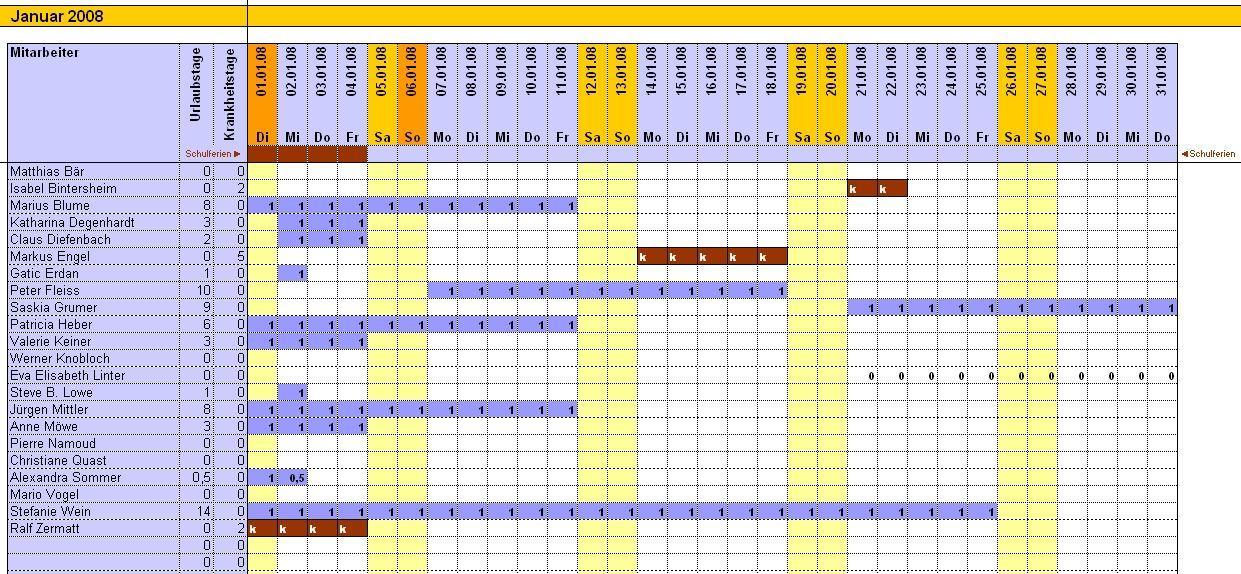 Excel Urlaubskalender 2016   Calendar Template 2016
