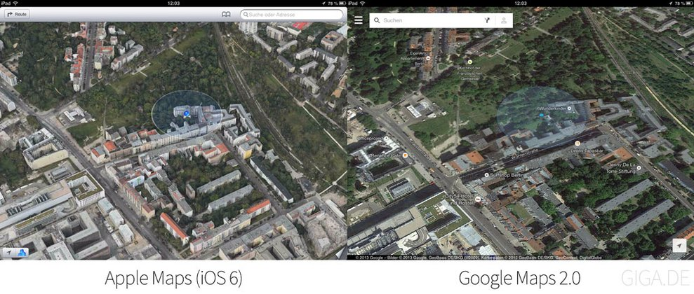 Apple Karten (iOS 6) vs Google Maps 2.0