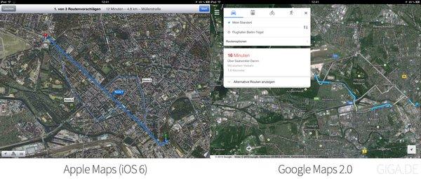 Apple Karten (iOS 6) vs Google Maps 2.0