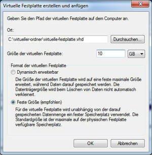 2. Angaben zur Virtuellen Festplatte