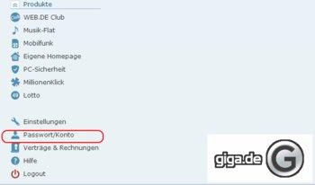 """Scrollen und """"Passwort/Konto"""" auswählen"""