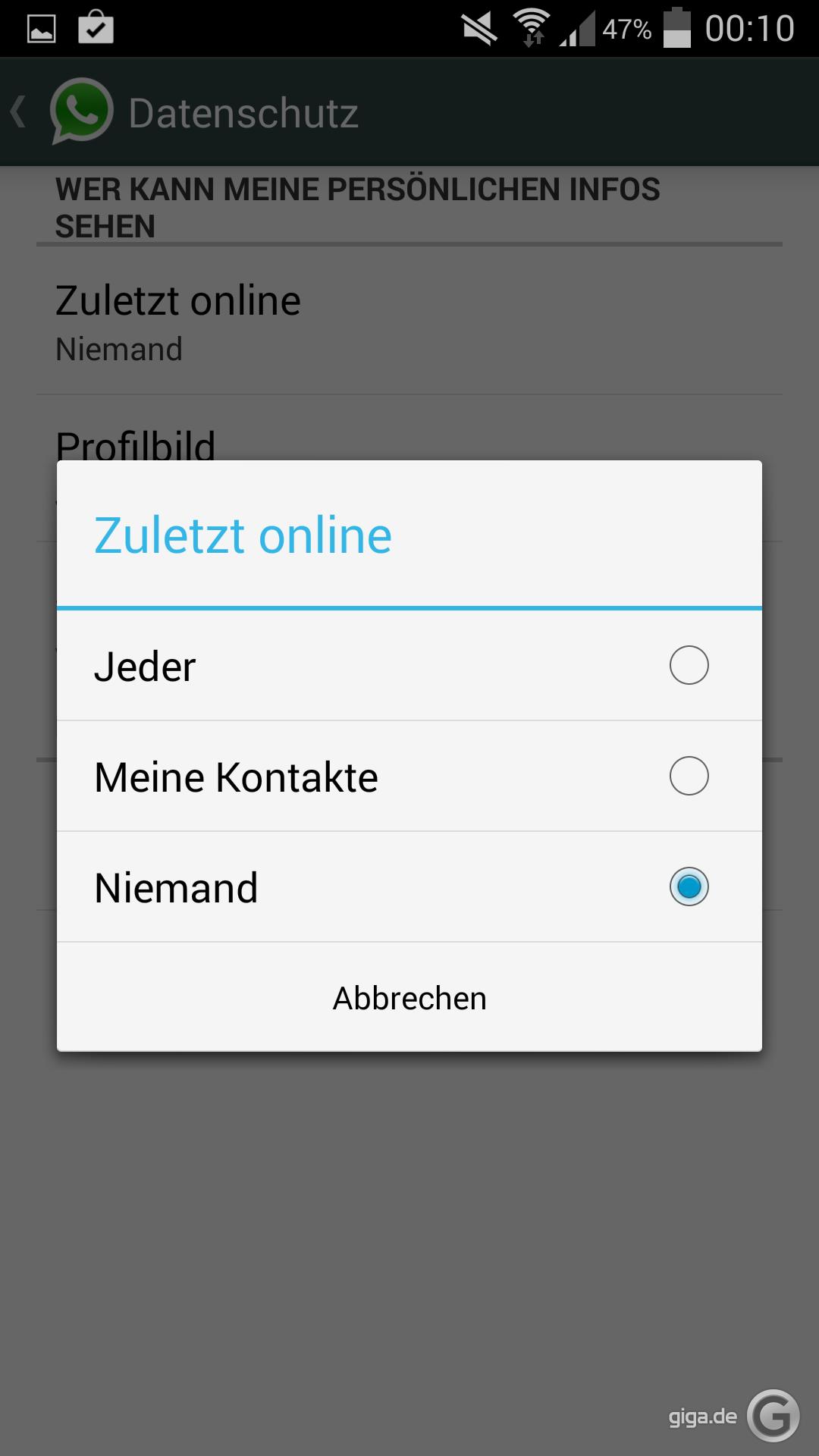 whatsapp status und profilbild verbergen das update f r android ist da giga. Black Bedroom Furniture Sets. Home Design Ideas