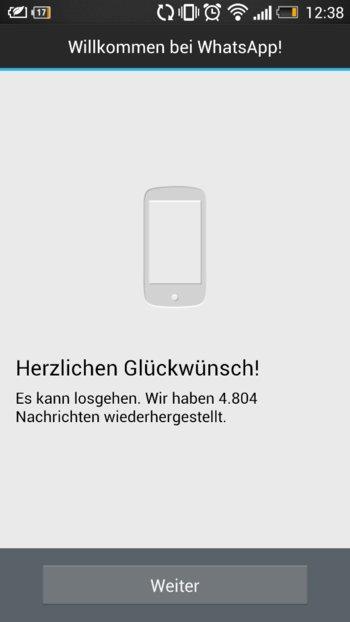 WhatsApp+ - alte Backups können übernommen werden