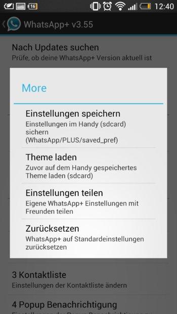 WhatsApp+ - Themes speichen und laden