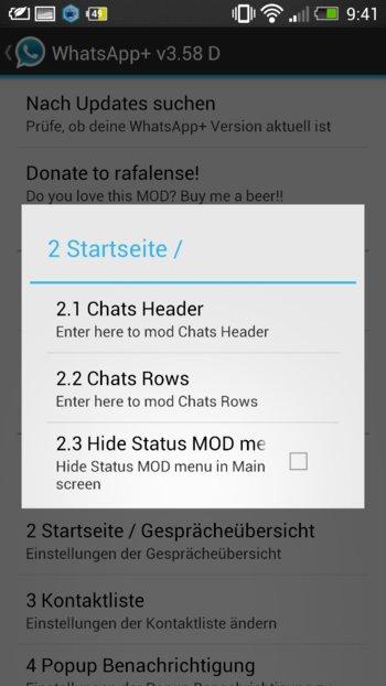 WhatsApp+ auch die Whatsapp Startseite kann geändert werden