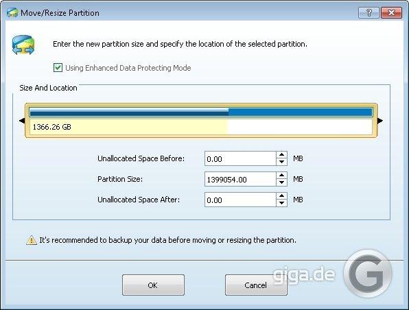 Festplatte partitionieren - Freier Platz