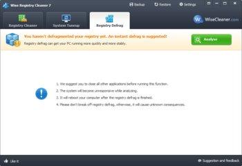 Wise Registry Cleaner Free Registry Defrag-Funktion