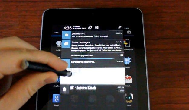 Android 4.1.2: Benachrichtungen per Ein-Finger-Geste ein- und ausklappbar [Video]