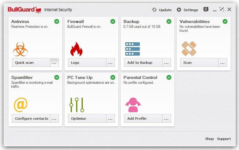 BullGuard Internet Security bietet Schutz vor Viren, Spam und Pornoseiten
