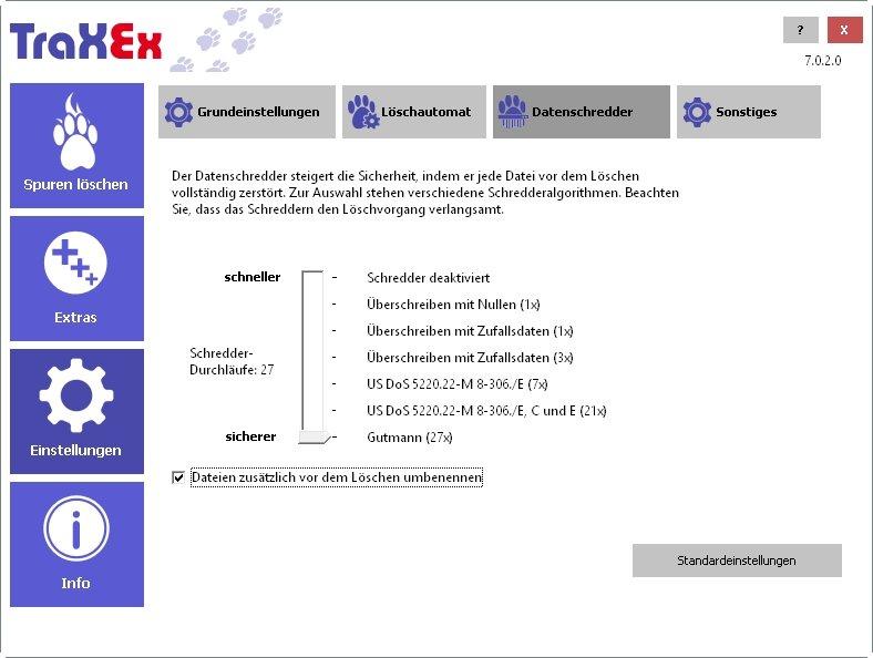TraXEx-Schreddern