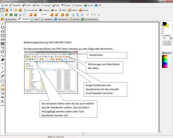 PDF Editor Oberfläche