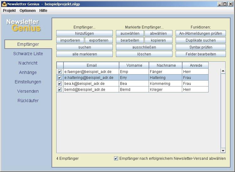 E-Mail-Adressen importiert Newsletter Genius per CVS-Datei oder Datenbank-Schnittstelle.