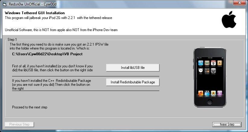 iPod touch 2G Jailbreak: redsn0w GUI veröffentlicht