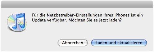 iTunes Netzbetreibereinstellungen