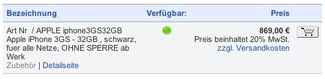 iPhone 3GS: Ab EUR 768,- bei Geizhals