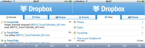 Dropbox Mobile Safari