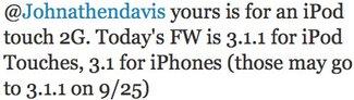 Firmware 3.1.1: Bereits am 25. September?