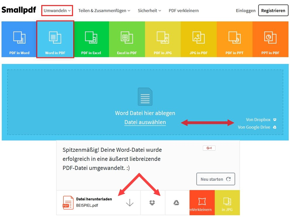 Datei in PDF umwandeln Browser smallpdf