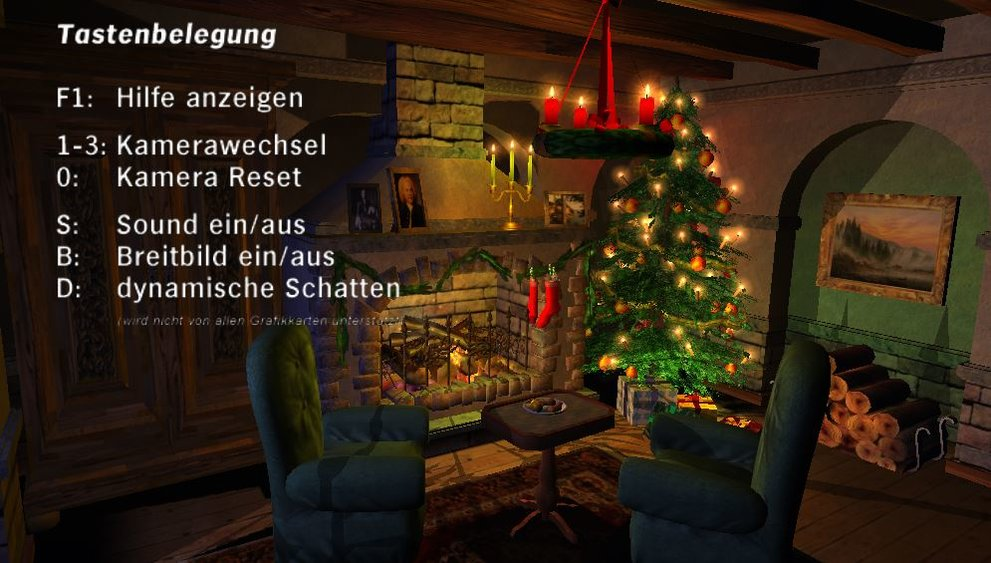 Weihnachtskamin-3D-Bildschirmschoner-Einstellungen
