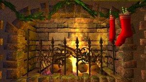 Weihnachtskamin 3D Bildschirmschoner