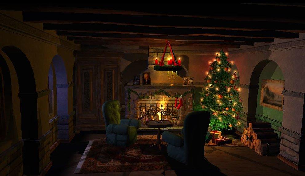 Weihnachtskamin-3D-Bildschirmschoner-Raum2