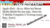 Media Markt twittert: Apple iPad für EUR 499,- [Upd.]