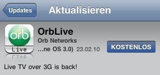 Orb Live: Update erlaubt wieder Live-TV über 3G