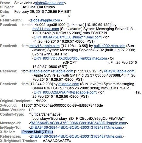 Steve Jobs verwendet iPhone mit OS 3.1.2