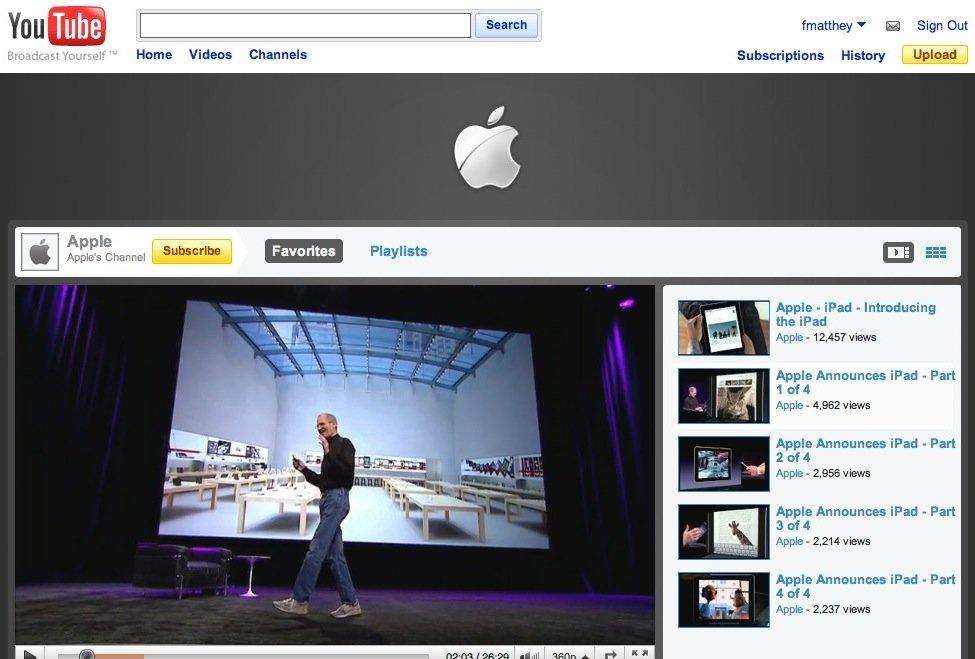 Apple bekommt eigene YouTube-Seite