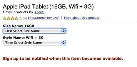Apple iPad-Seite bei Amazon