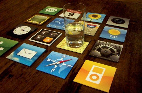 iPhone App-Icons als Untersetzer