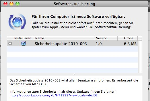 Sicherheitsupdate 2010-003 veröffentlicht (Update)