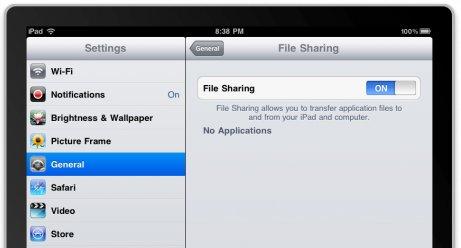 Geänderte Funktion: File Sharing am iPad