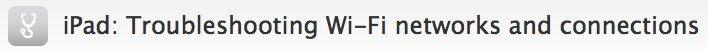 iPad Troubleshooting: Apple Supportdokument betreffend WiFi-Verbindungen