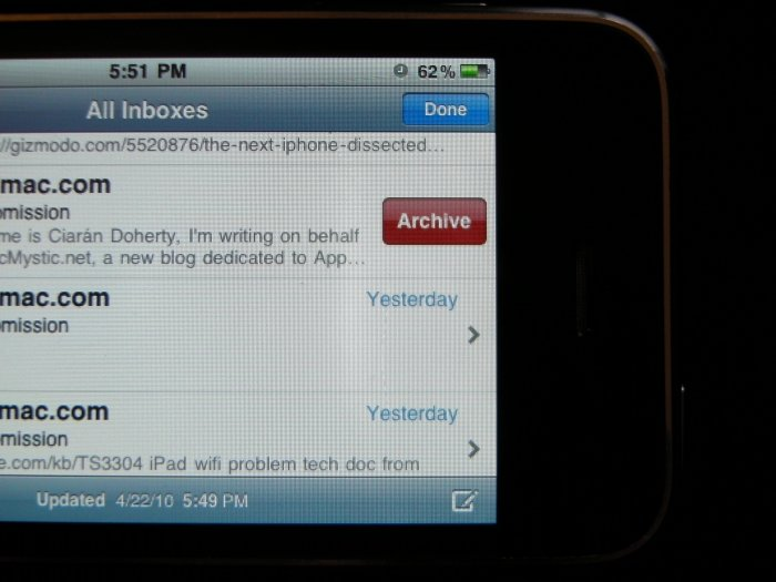 iPhone OS 4: Einfaches Archivieren in Gmail