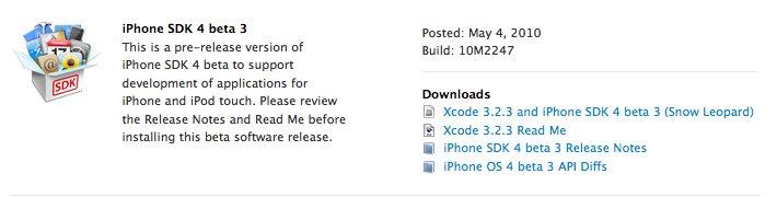 Apple veröffentlicht Beta 3 von OS 4.0
