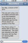 Erste SMS von iPad 3G
