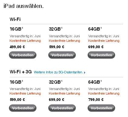 iPad in Europa: Erste Versandbestätigungen, spätere Lieferung für neue Bestellungen